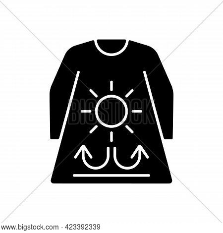 Long Sleeves And Loose Clothing Black Glyph Icon. Female Outfit For Summer Weather. Heatstroke Preve