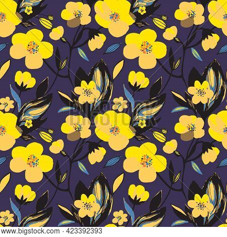 Abstract Floral Seamless Pattern. Yellow Colors, Painting On A Dark Purple Background. Trendy Cherry