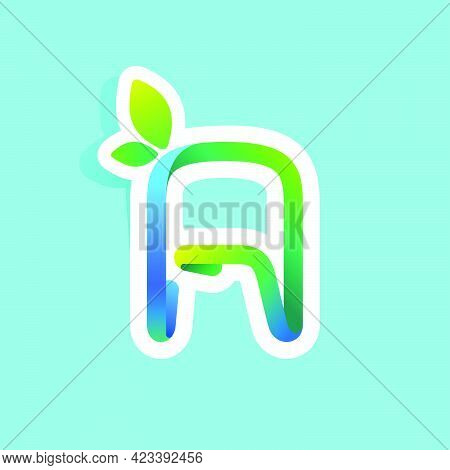 Letter A Flow Line Eco Logo With Green Leaves. Vector Green Icon Perfect To Use In Your Agriculture