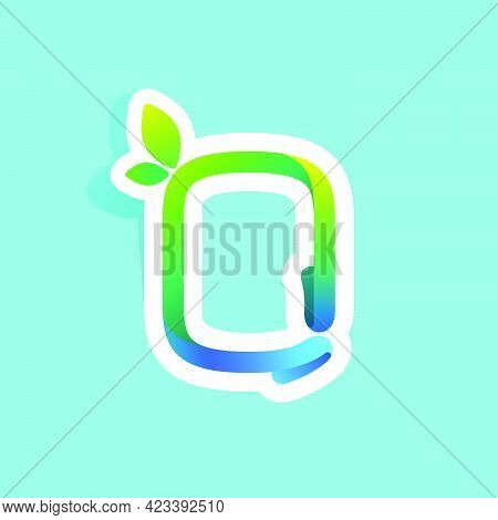 O Letter Flow Line Eco Logo With Green Leaves. Vector Green Icon Perfect To Use In Your Agriculture