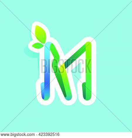 M Letter Flow Line Eco Logo With Green Leaves. Vector Green Icon Perfect To Use In Your Agriculture
