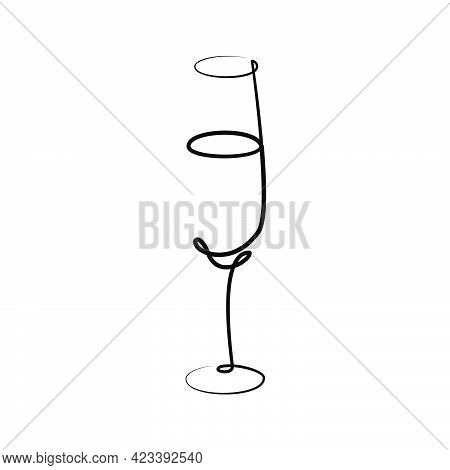 Champagne Wineglass On White Background. Graphic Arts Sketch Design. Black One Line Drawing Style. H