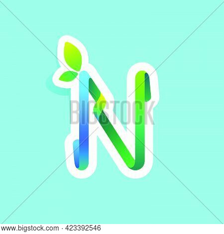 N Letter Flow Line Eco Logo With Green Leaves. Vector Green Icon Perfect To Use In Your Agriculture