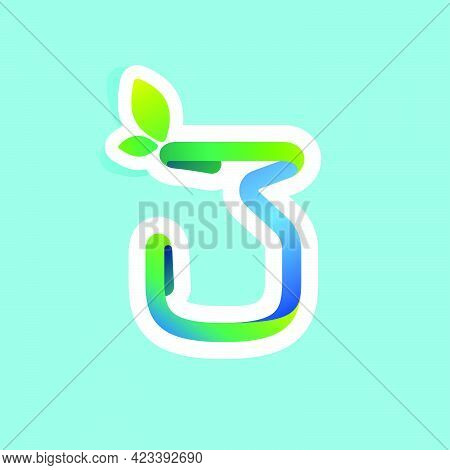 Number Three Flow Line Eco Logo With Green Leaves. Vector Green Icon Perfect To Use In Your Agricult