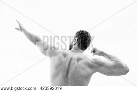 Bodybuilder Strong Muscular Back Feeling Powerful And Superior. Achieve Success. Successful Athlete.