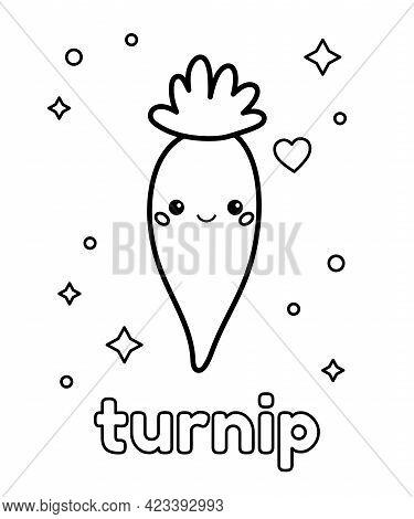 Coloring Page For Preschool Children. Cute Cartoon Turnip. Kawaii Vegetable. Healthy Food. Outline V