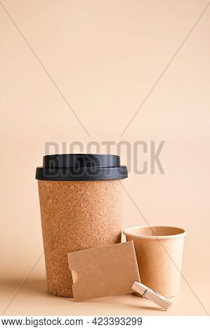 Business Card, Branding Mockup With Many Craft Paper And Different Subjects, Glass For Coffee. Offic