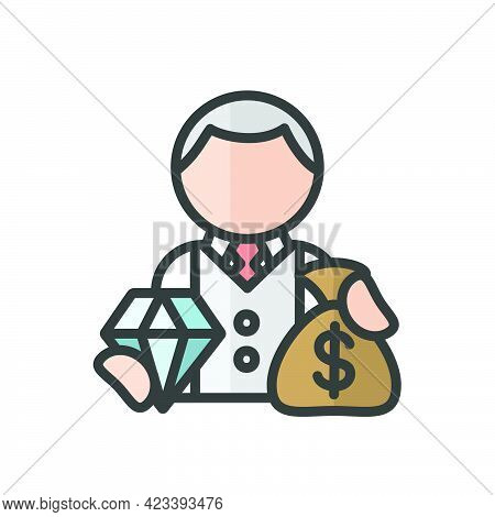 Millionaire Avatar. Luxury. Profile User, Person. Rich People Icon. Isolated Vector Illustration