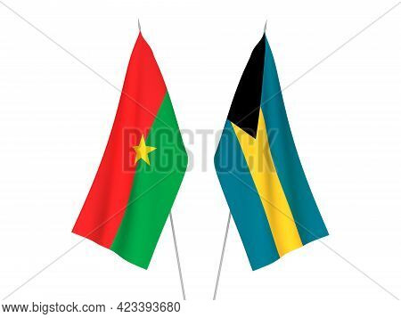 National Fabric Flags Of Commonwealth Of The Bahamas And Burkina Faso Isolated On White Background.
