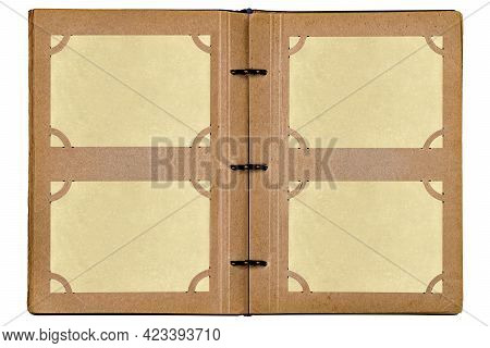 Open Old Photo Album Isolated On White Background. Album Pages With Empty Yellowed Photo Paper Stuck