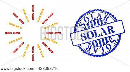 Vector Net Mesh Shine Rays Frame, And Solar Blue Rosette Grunge Stamp. Linear Frame Net Image Create