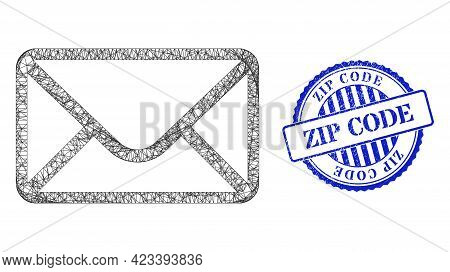 Vector Network Mail Envelope Carcass, And Zip Code Blue Rosette Scratched Stamp Seal. Crossed Carcas