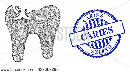 Vector Net Mesh Tooth Caries Frame, And Caries Blue Rosette Rubber Seal Imitation. Hatched Carcass N
