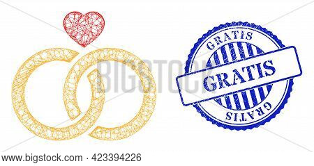 Vector Crossing Mesh Wedding Rings Carcass, And Gratis Blue Rosette Grunge Seal. Hatched Carcass Net