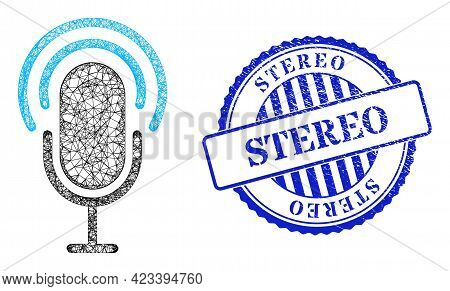 Vector Net Mesh Microphone Wireframe, And Stereo Blue Rosette Dirty Stamp Seal. Linear Frame Net Ima