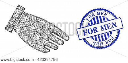 Vector Net Mesh Hand Palm Framework, And For Men Blue Rosette Rubber Stamp Seal. Wire Carcass Net Il