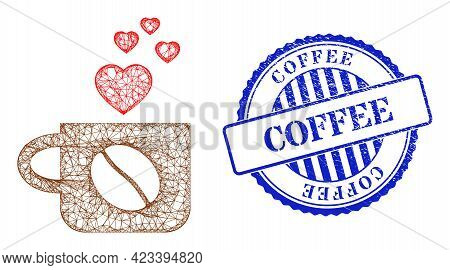 Vector Net Mesh Lovely Coffee Cup Carcass, And Coffee Blue Rosette Rubber Stamp Seal. Wire Frame Net