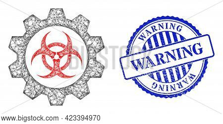 Vector Net Toxic Industry Model, And Warning Blue Rosette Scratched Stamp Seal. Crossed Frame Net Il