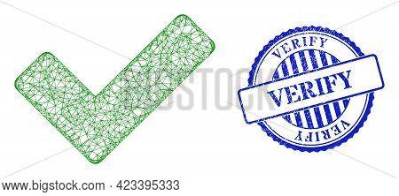 Vector Net Mesh Ok Sign Model, And Verify Blue Rosette Dirty Seal. Crossed Carcass Net Illustration