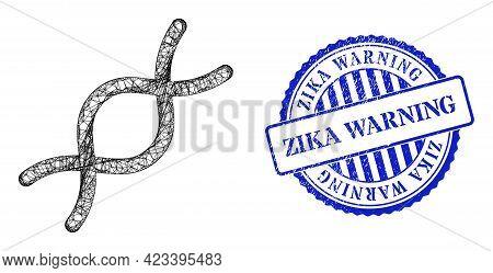 Vector Network Genome Spiral Frame, And Zika Warning Blue Rosette Textured Stamp Seal. Crossed Frame
