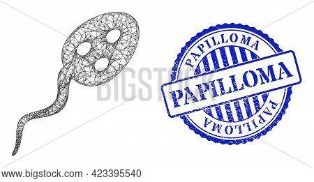 Vector Net Mesh Vibrion Microbe Model, And Papilloma Blue Rosette Grunge Stamp Seal. Linear Carcass