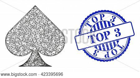 Vector Net Playing Card Spade Suit Frame, And Top 3 Blue Rosette Dirty Seal Imitation. Crossed Frame