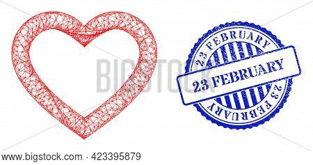 Vector Net Mesh Romantic Heart Carcass, And 23 February Blue Rosette Dirty Stamp. Hatched Carcass Ne