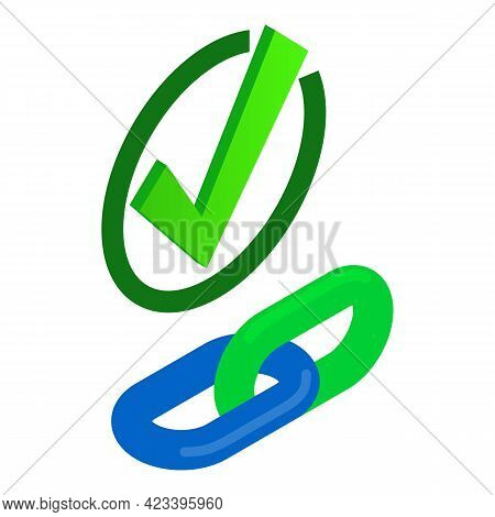 Checking Link Icon. Isometric Illustration Of Checking Link Vector Icon For Web