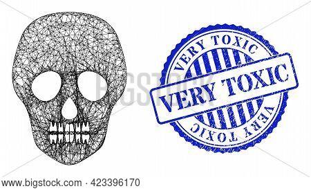 Vector Network Skull Framework, And Very Toxic Blue Rosette Grunge Seal. Crossed Carcass Network Sym