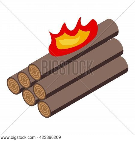 Burning Logs Icon. Isometric Of Burning Logs Vector Icon For Web Design Isolated On White Background