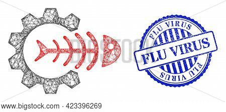 Vector Net Mesh Toxic Industry Frame, And Flu Virus Blue Rosette Grunge Seal Imitation. Wire Frame N