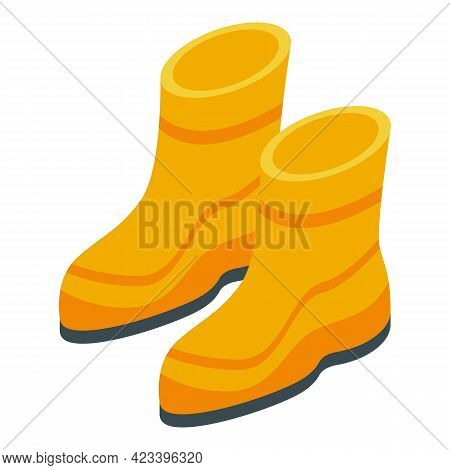 Rubber Boots Icon. Isometric Of Rubber Boots Vector Icon For Web Design Isolated On White Background
