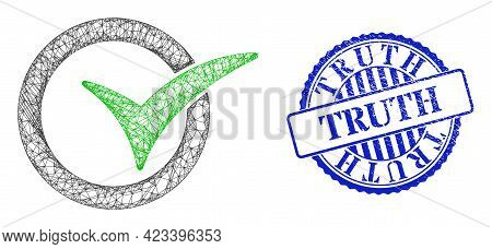 Vector Net Mesh Yes Vote Frame, And Truth Blue Rosette Grunge Seal. Hatched Frame Net Symbol Created