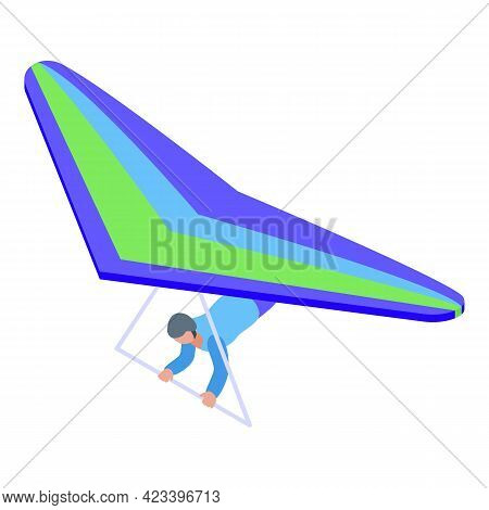 Amateur Paraglider Icon. Isometric Of Amateur Paraglider Vector Icon For Web Design Isolated On Whit