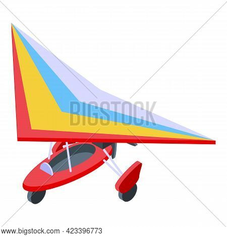 Aerial Paraglider Icon. Isometric Of Aerial Paraglider Vector Icon For Web Design Isolated On White