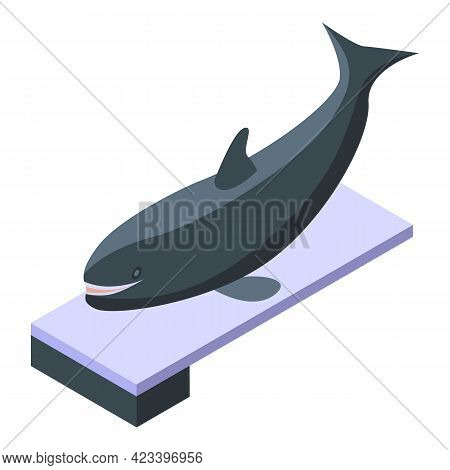 Killer Whale On Springboard Icon. Isometric Of Killer Whale On Springboard Vector Icon For Web Desig