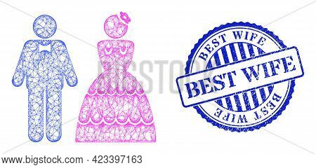 Vector Net Wedding Pair Frame, And Best Wife Blue Rosette Corroded Seal Print. Crossed Frame Net Ima