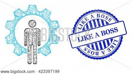 Vector Net Mesh Human Resources Carcass, And Like A Boss Blue Rosette Scratched Stamp Seal. Linear C