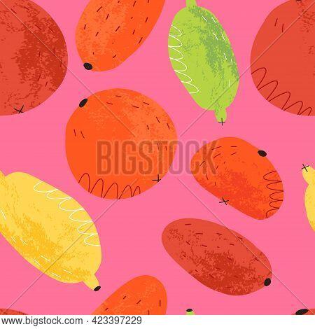 Citrus Fruits Seamless Pattern In Neon Colors For Textile, Fabric Print. Orange, Lime, Lemon, Kumqua