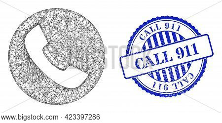 Vector Network Phone Frame, And Call 911 Blue Rosette Dirty Stamp. Hatched Frame Network Illustratio