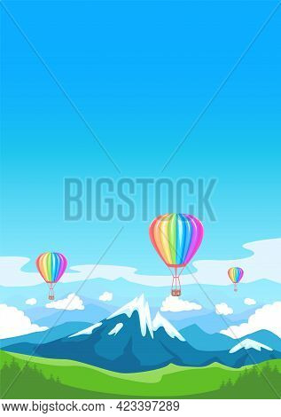 Aerostats Flies Over Mountain Peaks And Flowering Valleys. Hot Air Balloon In Rainbow Colors. Bright
