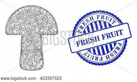 Vector Net Mushroom Frame, And Fresh Fruit Blue Rosette Grunge Stamp. Hatched Frame Net Image Design