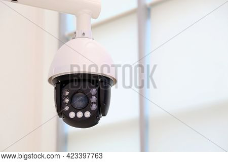 Surveillance Video Camera With Led Backlight On White Background. Cctv Camera, Concept For Security