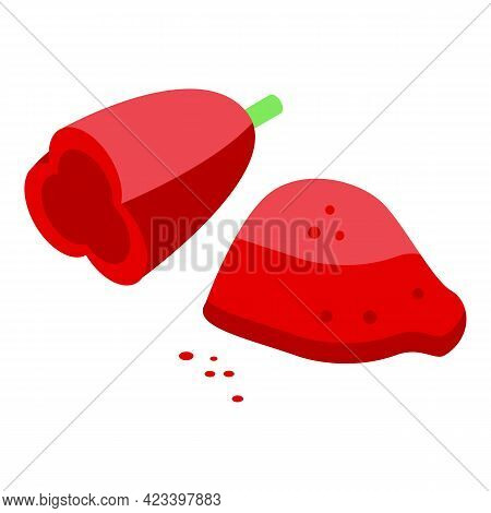 Ground Red Paprika Icon. Isometric Of Ground Red Paprika Vector Icon For Web Design Isolated On Whit