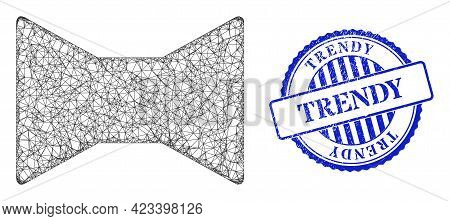 Vector Net Mesh Tie Bow Model, And Trendy Blue Rosette Rubber Stamp Seal. Hatched Carcass Network Il