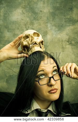 Schoolteacher With Skull