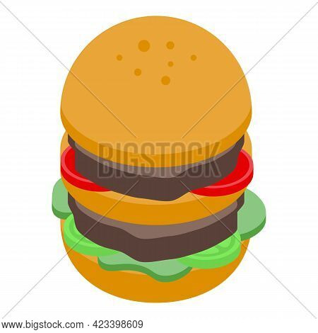 Burger Icon. Isometric Of Burger Vector Icon For Web Design Isolated On White Background