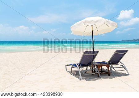 Beach Chairs With White Umbrella And Beautiful Sand Beach In Koh Samui, Thailand. Vacation Holidays