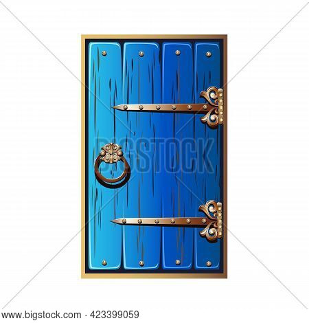 Old Fairytale Door With Forged Handles. A Door Painted With Blue Paint With Gold Metal Decorations.