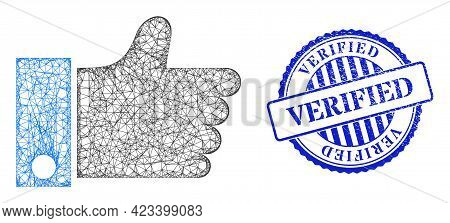 Vector Net Thumb Up Model, And Verified Blue Rosette Textured Stamp Seal. Wire Carcass Net Image Cre